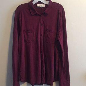 LOFT burgundy 💯 cotton Knit blouse XL